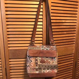 Danilo's Tapestry Bag with Tan Leather Trim